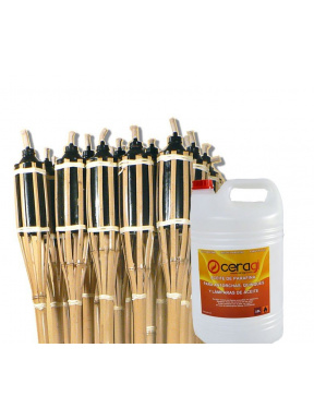 Pack 24 torch + bottle 10l paraffin oil